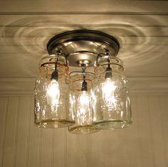 Vintage Canning Jar ceiling light. Also in Oiled Bronze or Antique Black. $149.