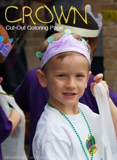 Create your own Mardi Gras crown with this free download: a color and cut-out Crown.