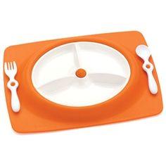 arango - mate stay-put mat & plate - orange. @Lisa Ervin. For Jackson.