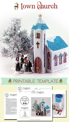 Miniature Christmas Town church made from paper. DIY printable template similar to the old Putz patterns.