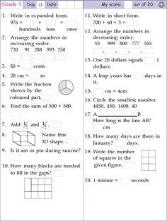 Mental Math Grade 3 Day 11