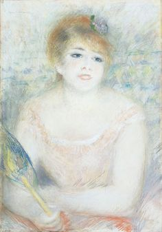 Portrait of Mlle Jeanne Samary (c. 1878; pastel, 27 7/16 x 18 3/4) by Pierre-Auguste Renoir. Cincinnati Art Museum