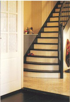 Black stair treads and railing