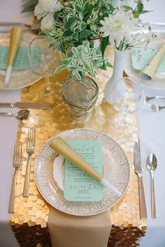 table settings, color palettes, mint green, gold weddings, sequin, floral designs, new years eve, table runners, parti