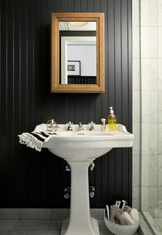 5 Quick Fixes: Instant Bathroom Updates.  Black beadboard.