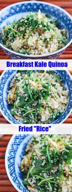 "Breakfast Kale Quinoa Fried ""Rice"" Jeanette's Healthy Living #breakfast #kale #quinoa #healthy #vegetarian"