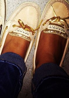 sperrys. love the gold!!