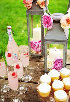 summer parties, pink drinks, garden parties, shower, candl, pink lemonade, lanterns, flower, picnic