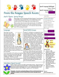 "Speech newsletter from ""Sat What, Y'All"" great to send home to students and parents. Pinned by SOS Inc. Resources.  Follow all our boards at http://Pinterest.com/sostherapy for therapy resources."