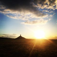 Chimney Rock National Historic Site in Bayard, NE. The trail up to the rock does close when the visitor center closes, but if you're running behind, you can still get a pretty good view at sunset. sunsets, running, rocks