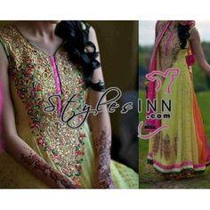 Yellow And Pink Anarkali Embroidred Dress - StylesInn (Pakistani Designers Wear)