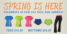 Get ready for Spring in our newest FFA tees and shorts! #ShopFFA  http://shop.ffa.org/2013-spring-tees-and-shorts-c1632.aspx#