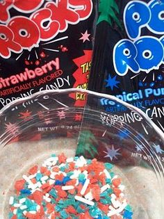 Pop Rocks mixed with Sprinkles = Firecracker Frosting for Cupcakes or Cookies! Perfect surprise for the Fourth of July! I need to remember this.