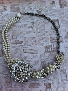 vintage rhinestone & pearl necklace.  Check it out at glamtiquing.etsy.com