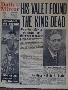 Daily Mirror: His Valet Found The King Dead. February 1952.