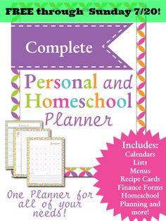 FREE Complete Personal & Homeschool Planner for Moms. Fully customizable! Create the perfect planner for YOU!