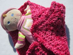 Crochet Baby Doll Blanket or Snuggie in by crochetedbycharlene