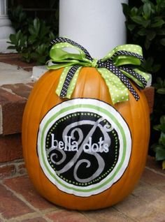 Monogram painted pumpkin