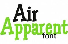 Free Air Apparent Machine Embroidery Font Set