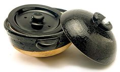 Double-lid Donabe rice cooker... from Nagatani-en in Iga, Japan. They're made of heavy clay and have a double lid that captures the steam. Rice cooked in this pot comes out perfect, each grain absolutely distinct at http://www.toirokitchen.com