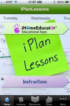 iPlanLessons™    This is an AMAZING lesson planning app.  You can email the plans, print them out, etc., for record keeping purposes.  Color coded for each student's records.