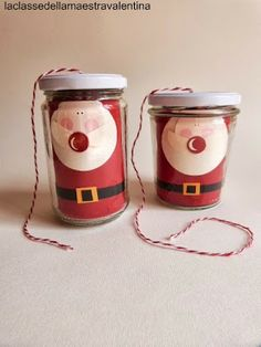 santa claus recycled jar baker's twine dispenser