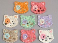 Crochet cat faces
