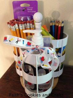 Back to School Teacher gift - I found this clearance utensil holder at @target  Added pencils, pencil sharpener, colored pencils, crayons, glue pen, highlighter, personalized hand sanitizer, bookmarks, washi tape. #vinyl from #PYP