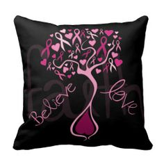 Pink Awareness Ribbon Tree with Inspiring Words Pillow