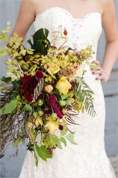 loose fall wedding bouquet from Three Leaf Floral #threeleaffloral #fallflowers #weddingbouquet http://www.weddingchicks.com/2013/11/27/bronze-fall-wedding-ideas/