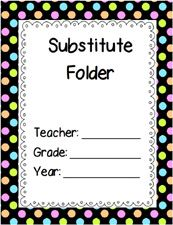 Free Printable Substitute Folder Cover- Black Polka Dots via www.pre-kpages.com teacher stuff
