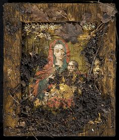 Theotokos of Kozeltshan Icon was stolen from Uspenski cathedral, Helsinki and buried to the ground for months before icon was got back. This is how it looked like before conservation at the New Valaam monastery. For many orthodox people in Finland, this icon is Miracle-Working .