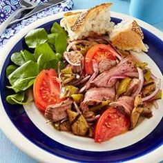 Grilled Steak Salad with Tomatoes & Eggplant Recipe