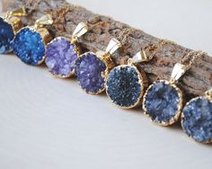Hey, I found this really awesome Etsy listing at https://www.etsy.com/listing/152912305/gold-druzy-necklace-blue-druzy-necklace