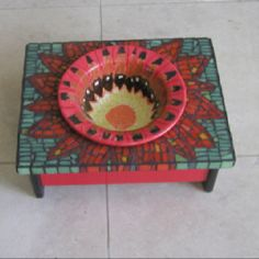 Dog feeding station - mosaic workmanship - great piece!