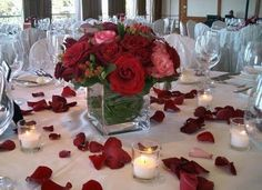 :) idea, wedding receptions, weddings, red roses, candl, flowers, wedding centerpieces, rose petals, red wedding