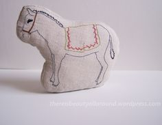 "embroidered donkey ""block"" animal"