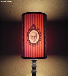 Baroque Skull Orange Lamp Shade Lampshade  by SpookyShades on Etsy, €46.90