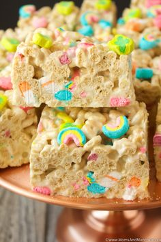 Lucky Charms Marshmallow Treats Recipe - a creative dessert idea for St. Patrick's Day!