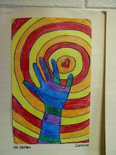 Art lessons hand, warm colors, art lessons, art idea, teacher blogs, op art, teach idea, kid, marbl