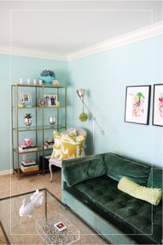 Liquid Gold Leaf on an IKEA bookshelf looks amazing! I'm also loving the deep green sofa...
