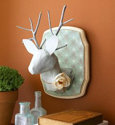 Wood plaque + foam egg + plastic bottle + wood antlers!