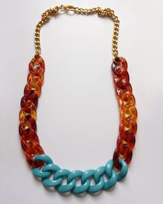 Tortoise and turquoise acrylic link necklace