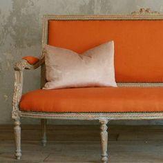 laurel home | wonderful French settee upholstered in orange linen