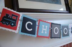 Choo Choo Banner, All Aboard, Train Theme, Train Birthday, Train Baby Shower, Red, Black White and Blue. $14.00, via Etsy.