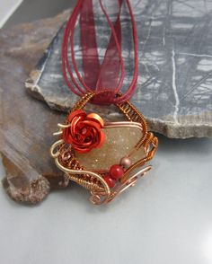 Wire Wrapped Valentine Pendant in Copper, Wire Wrapped Pendant, studiodct. $76.00, via Etsy.