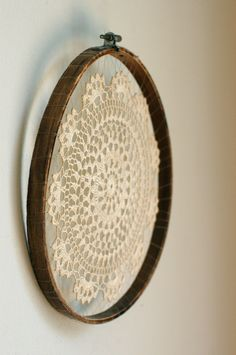 vintage crochet doily + hoop. omg!! this gave me the greatest idea, i could use crochet for screen printing, just cover it in mod podge and paint over it, that would look so good!