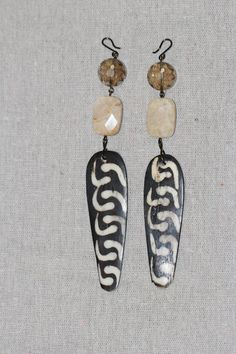 batik bead earrings