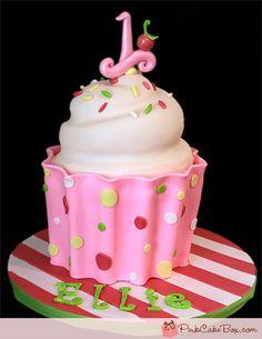 1st Birthday Pink Cupcake Cake
