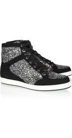 Jimmy ChooTokyo glitter-finished suede sneakers